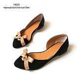 Асимметричные туфельки из черного замша на кожволоновой подошве, фото 2