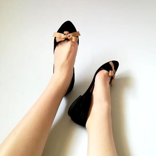 Асимметричные туфельки из черного замша на кожволоновой подошве