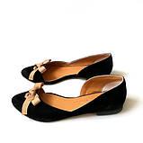 Асимметричные туфельки из черного замша на кожволоновой подошве, фото 3