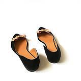 Асимметричные туфельки из черного замша на кожволоновой подошве, фото 5