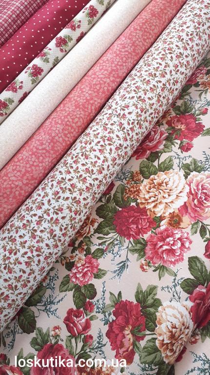 Набор тканей для пэчворка. Розы. Цветочный принт.