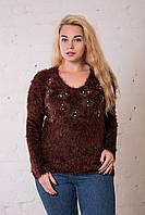 Женская кофта травка коричневого цвета. Размер универсальный (до 50 размера) ОПТ - РОЗНИЦА