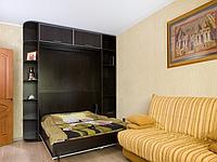 Відкидна шафа-ліжко з полицями і антресоллю для вітальні, фото 1