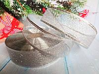 """Лента новогодняя с блестками """"СЕТКА"""", с проволочным краем, цвет СЕРЕБРО, 3,8 см"""