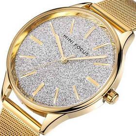 Часы  Женские Mini Focus (мини фокус) MF0044L Gold-White Shine, Стальной браслет