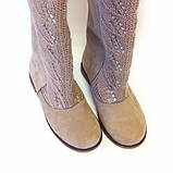 Сапоги нубуковые бежевые со свободным голенищем и вязаной вставкой, фото 4