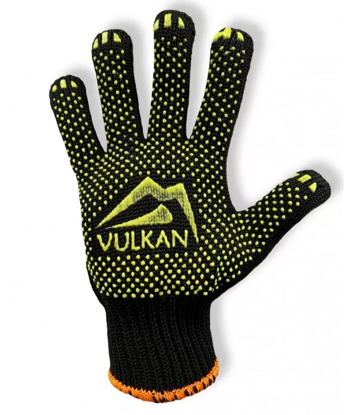 Защитные перчатки с ПВХ точкой черные, Vulkan (5611)