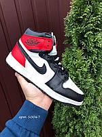 Мужские зимние кожаные кроссовки Nike Air Jordan 1 Retro белые с красным и чёрным