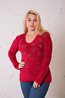 Женская кофта травка красного цвета. Размер универсальный (до 50 размера) ОПТ - РОЗНИЦА