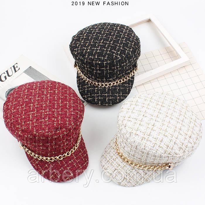 Женская твидовая кепка в стиле Chan