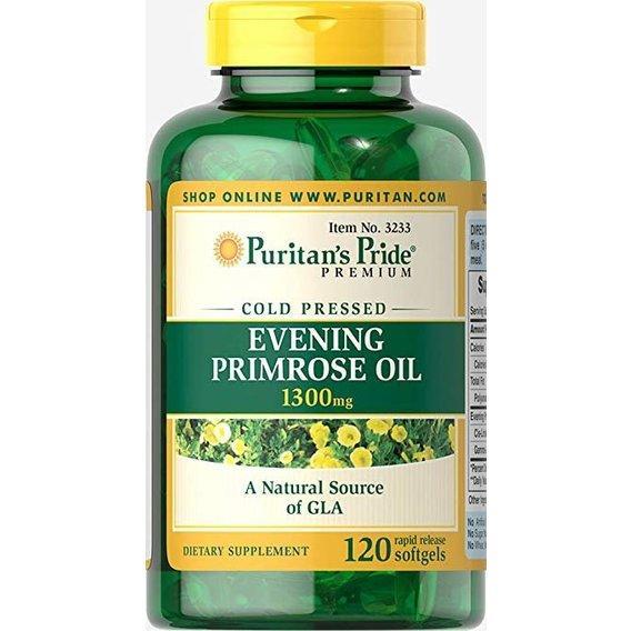 Puritan's pride Evening Primrose Oil, Масло Примулы Вечерней, 1300 mg with GLA (120 капс.)