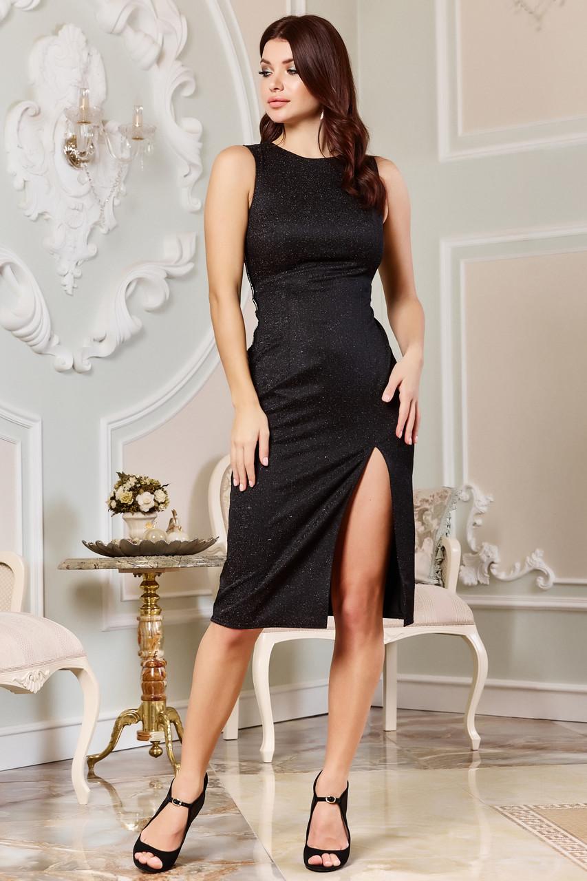 Вечернее чёрное платье с люрексом с разрезом сбоку