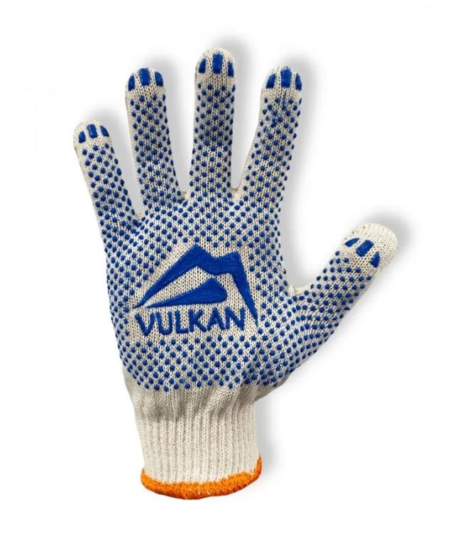 Защитные перчатки с ПВХ точкой белые, Vulkan (8310)