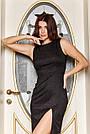 Вечірнє чорне плаття з люрексом з розрізом збоку, фото 2