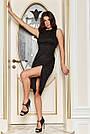 Вечірнє чорне плаття з люрексом з розрізом збоку, фото 5