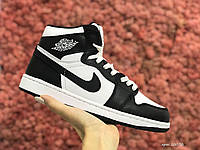 Жіночі зимові шкіряні кросівки Nike Air Jordan 1 Retro білі з чорним
