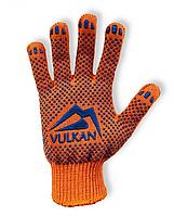 Защитные перчатки с ПВХ точкой оранжевые, Vulkan (8512)