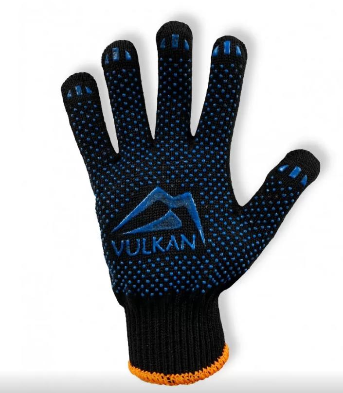 Защитные перчатки с ПВХ точкой черные, Vulkan (8511)
