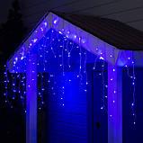 Новогодняя уличная гирлянда БАХРОМА 100 LED 4,5 м * 0, 7 м, белый каучук 3.3 мм, синий + FLASH, фото 2