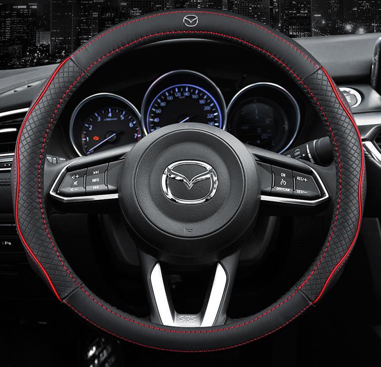 Чехол оплетка Circle Cool на руль для автомобиля Mazda c логотипом