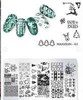 Пластина для стемпинга на ногтях новый год, дед мороз, игрушки, подарки 02