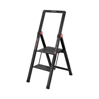 """Стремянка алюминиевая """"Black Slim"""", 2 ступени, высота верхней ступени 456мм, 150 кг, STORM INTERTOOL LT-5002"""