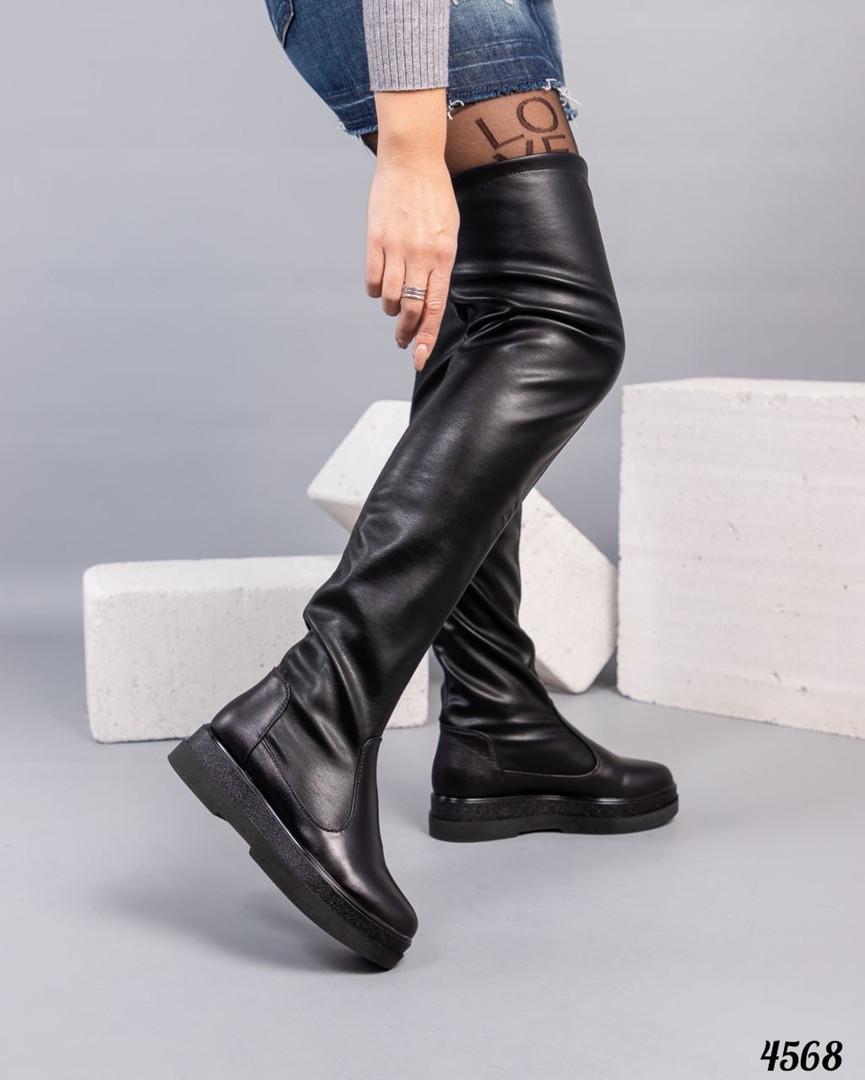 Высокие женские ботфорты черные