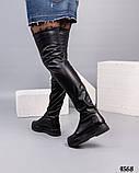 Высокие женские ботфорты черные, фото 4