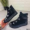 Женские ботинки демисезонные черные из натуральной кожи и замши код 165111