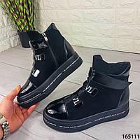 Женские ботинки демисезонные черные из натуральной кожи и замши код 165111, фото 1