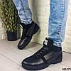 Ботинки мужские зимние черные из натуральной кожи и замши внутри густой мех код 165275