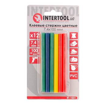 Комплект цветных клеевых стержней 7.4мм*100мм, 12шт INTERTOOL RT-1031