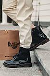 Женские зимние ботинки Dr.Martens лак черные(копия), фото 6