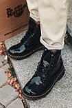 Женские зимние ботинки Dr.Martens лак черные(копия), фото 7