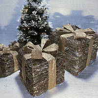 Світлодіодний декор Новорічні подарунки (набір 3 шт), фото 1