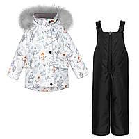 Детский зимний комплект Куртка Снеговик и Черный полукомбинезон / Детские куртки и комбинезоны зима 92 98 104
