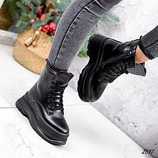 Черевики жіночі чорні, зимові з еко шкіри. Черевики жіночі теплі чорні на платформі, фото 2