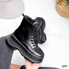 Черевики жіночі чорні, зимові з еко шкіри. Черевики жіночі теплі чорні на платформі, фото 3