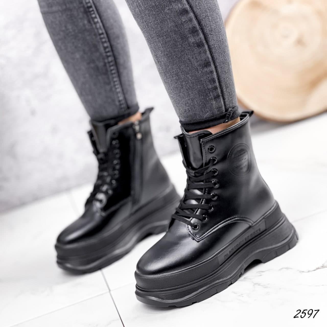 Черевики жіночі чорні, зимові з еко шкіри. Черевики жіночі теплі чорні на платформі