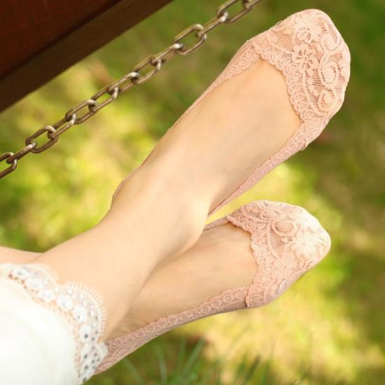 Мереживні тапочки-шкарпетки пудрові