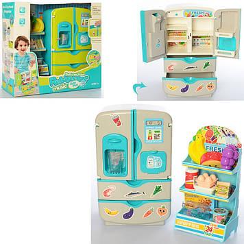 Холодильник 28см,посуд,продукти,27предм.,муз.,звук.,в кор-ці,36х32,5х13см №35882/35882D