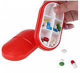 Контейнер для таблеток на 6 отделений красный, фото 4