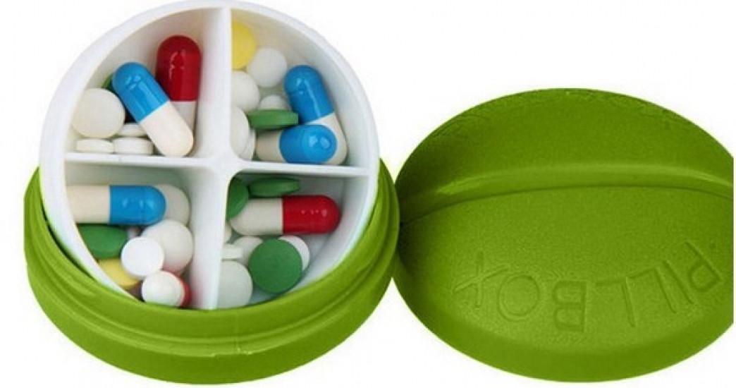 Контейнер для таблеток на 4 відділення зелений