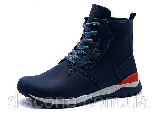 Ботинки зимние TH, мужские, темно-синие, кожаные
