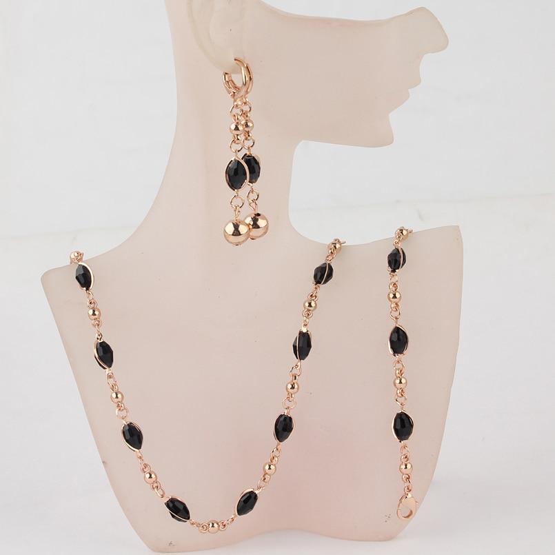 Комплект украшений цепочка, серьги и браслет с черными камнями код 716