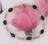 Комплект украшений цепочка, серьги и браслет с черными камнями код 716, фото 2