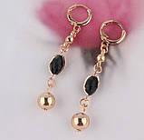 Комплект украшений цепочка, серьги и браслет с черными камнями код 716, фото 4