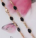 Комплект украшений цепочка, серьги и браслет с черными камнями код 716, фото 5