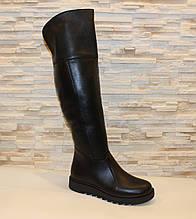 Сапоги ботфорты женские черные зимние натуральная кожа С933