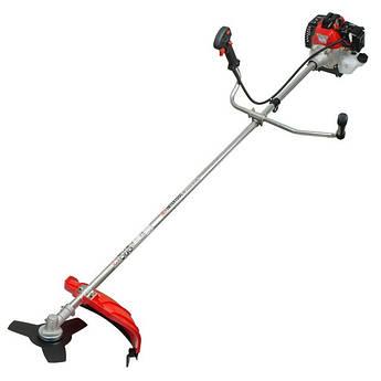 Мотокоса 1.5 кВт/2 л.с., 43 см³, катушка, 3-х лопастной нож, фреза 40 зубъев, двухплечевой ранцевый ремень